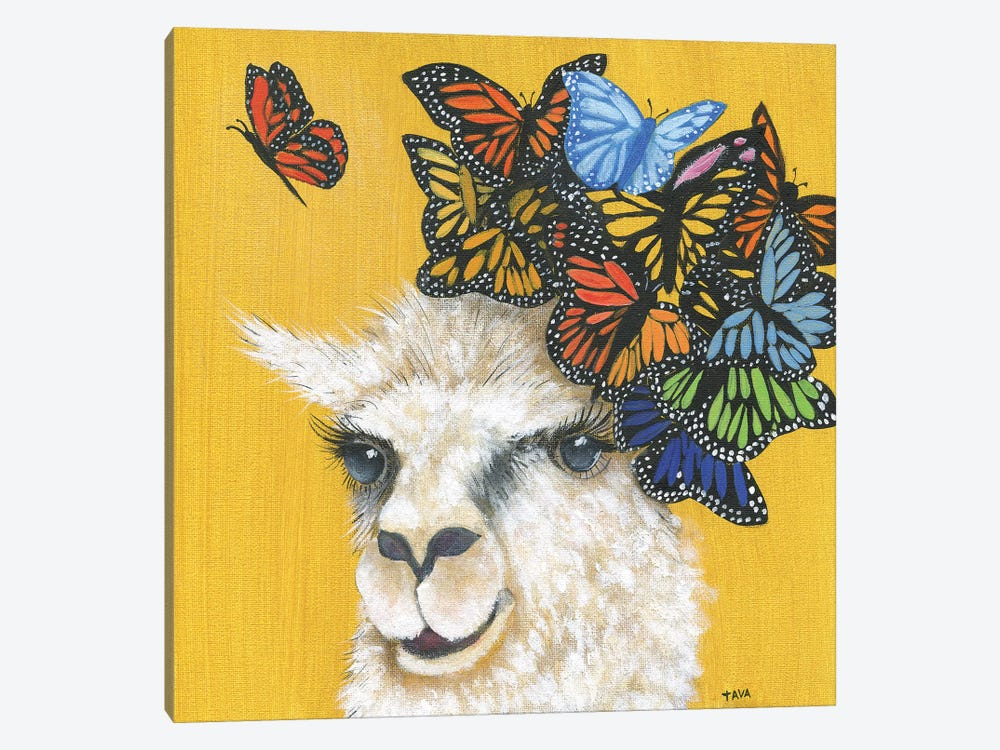 Llama and Butterflies by Tava Studios 1-piece Canvas Wall Art