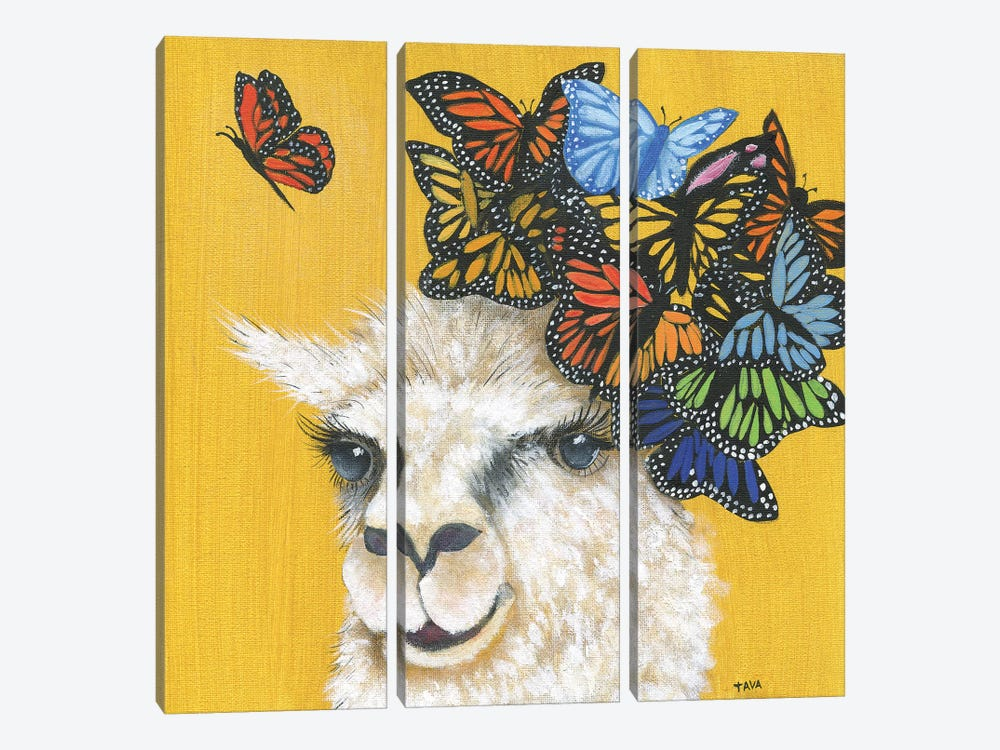 Llama and Butterflies by Tava Studios 3-piece Canvas Art