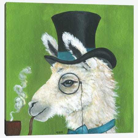 Llama and Pipe Canvas Print #TAV116} by Tava Studios Canvas Wall Art