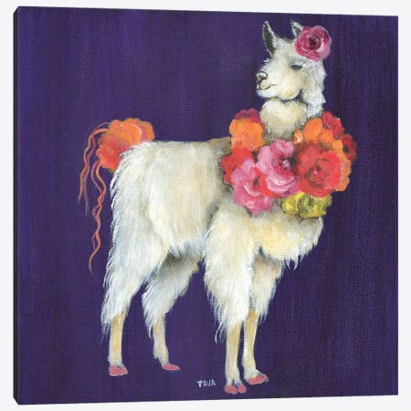 Llama Flowers Canvas Print #TAV117} by Tava Studios Canvas Art