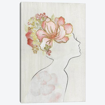 Fashion Floral Silhouette I Canvas Print #TAV165} by Tava Studios Canvas Print