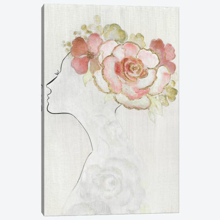 Fashion Floral Silhouette II Canvas Print #TAV166} by Tava Studios Canvas Art Print