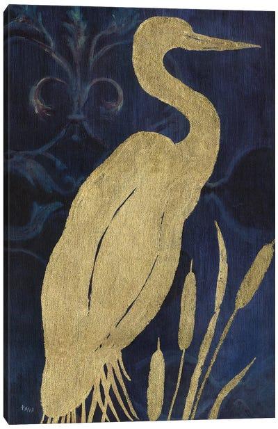 Egret on Indigo I Canvas Art Print