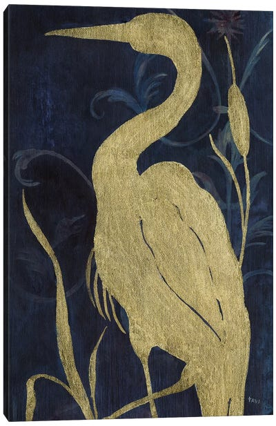 Egret on Indigo II Canvas Art Print