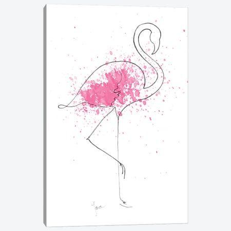Flamingo Splash I Canvas Print #TAV220} by Tava Studios Canvas Print