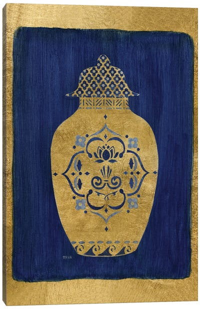 Sapphire and Gold Urn I Canvas Art Print