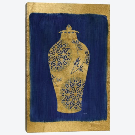 Sapphire and Gold Urn II Canvas Print #TAV233} by Tava Studios Canvas Artwork