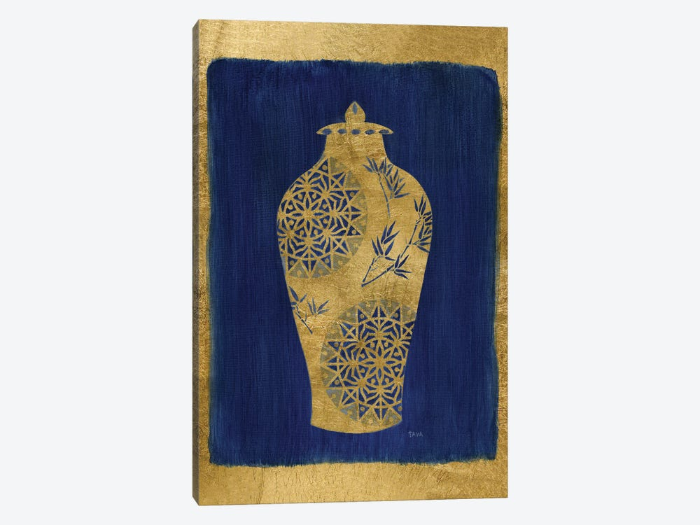 Sapphire and Gold Urn II by Tava Studios 1-piece Canvas Wall Art
