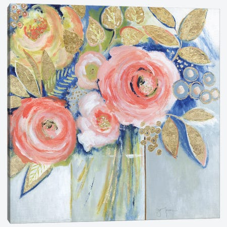 Peach Metallic Bling Canvas Print #TAV267} by Tava Studios Canvas Wall Art