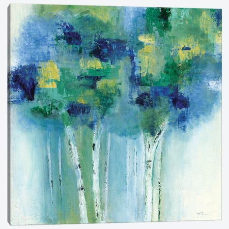 Birch In Blues Canvas Print #TAV76} by Tava Studios Canvas Wall Art