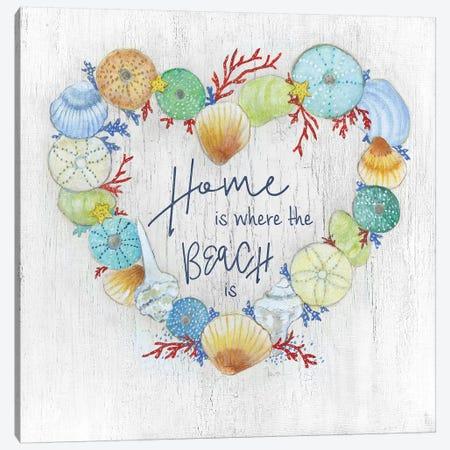Seashell Heart Canvas Print #TAV84} by Tava Studios Art Print