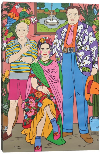 Frida Kahlo, Pablo Picasso and Diego Rivera Canvas Art Print