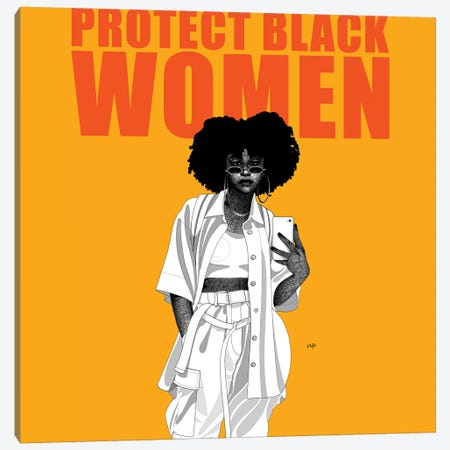Protect Black Women Canvas Print #TBJ29} by Ohab TBJ Canvas Wall Art
