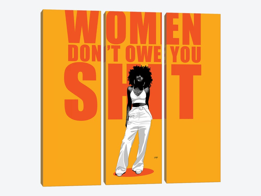 Women Don't Owe You Shit by Ohab TBJ 3-piece Canvas Artwork