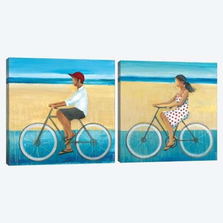 Bike Ride on the Boardwalk Diptych Canvas Print Set #TBU2HSET001} by Terri Burris Canvas Print