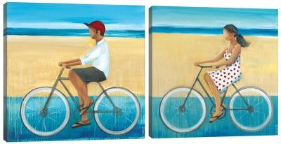 Bike Ride on the Boardwalk Diptych Canvas Art Print