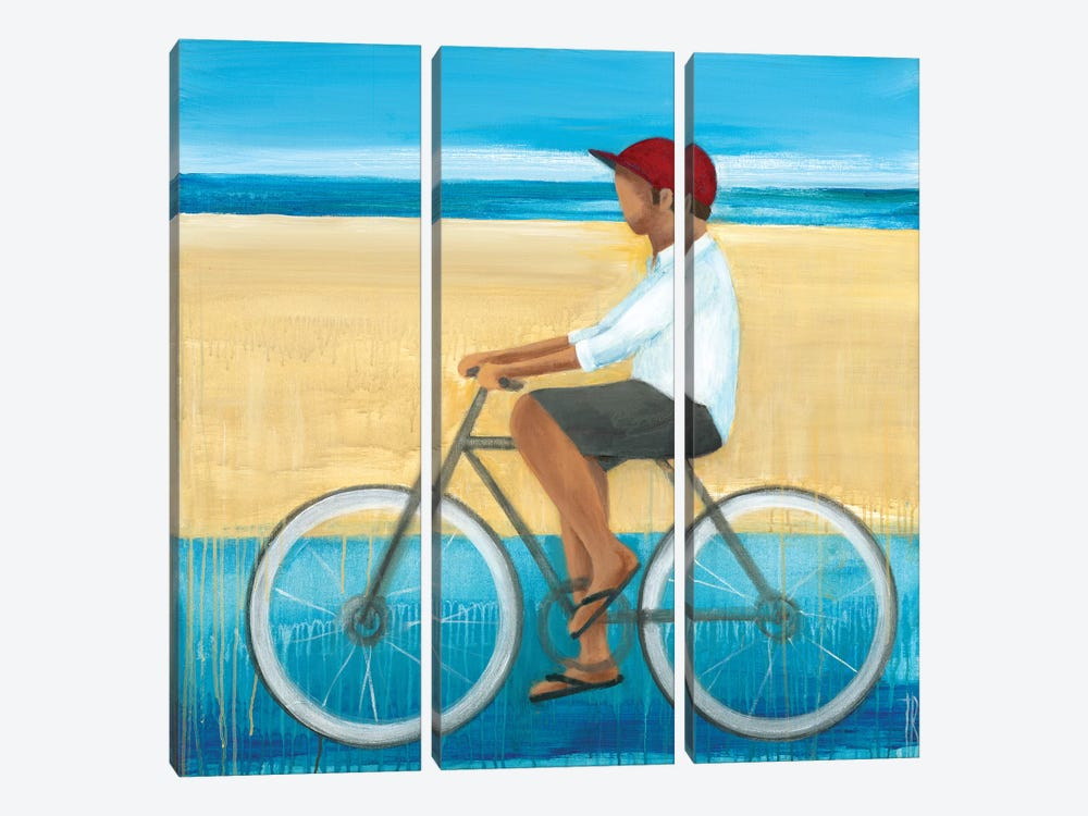Bike Ride on the Boardwalk I by Terri Burris 3-piece Canvas Art Print