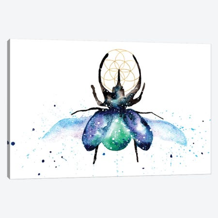 Cosmic Scarab Beetle Canvas Print #TCA74} by Tanya Casteel Canvas Wall Art