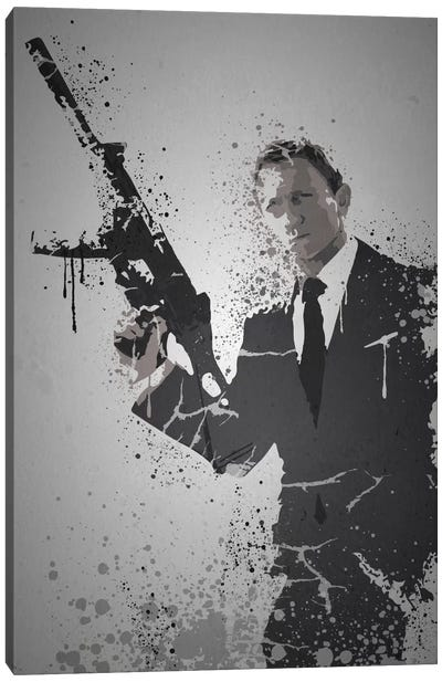 Pop Culture Splatter Series: Licence To Kill Canvas Print #TCD28