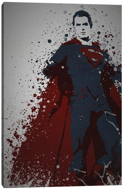 Pop Culture Splatter Series: Man Of Steel Canvas Print #TCD31