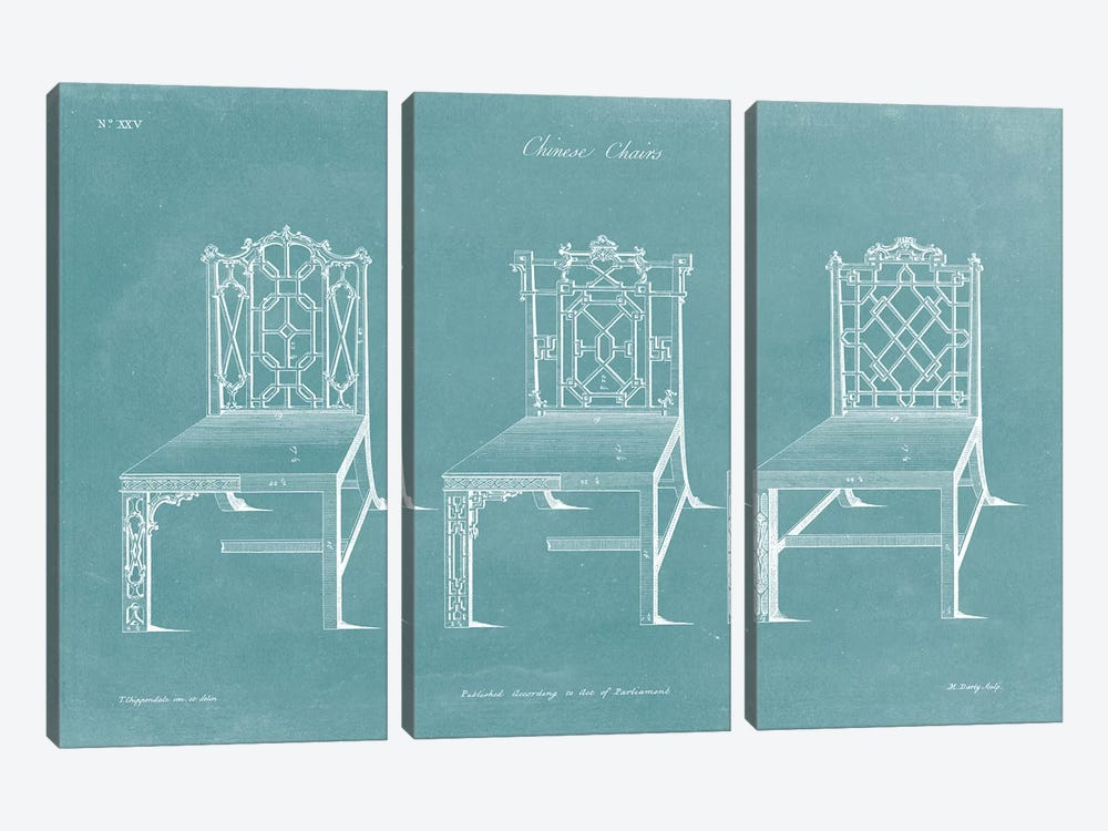 Design For A Chair I by Thomas Chippendale 3-piece Canvas Art