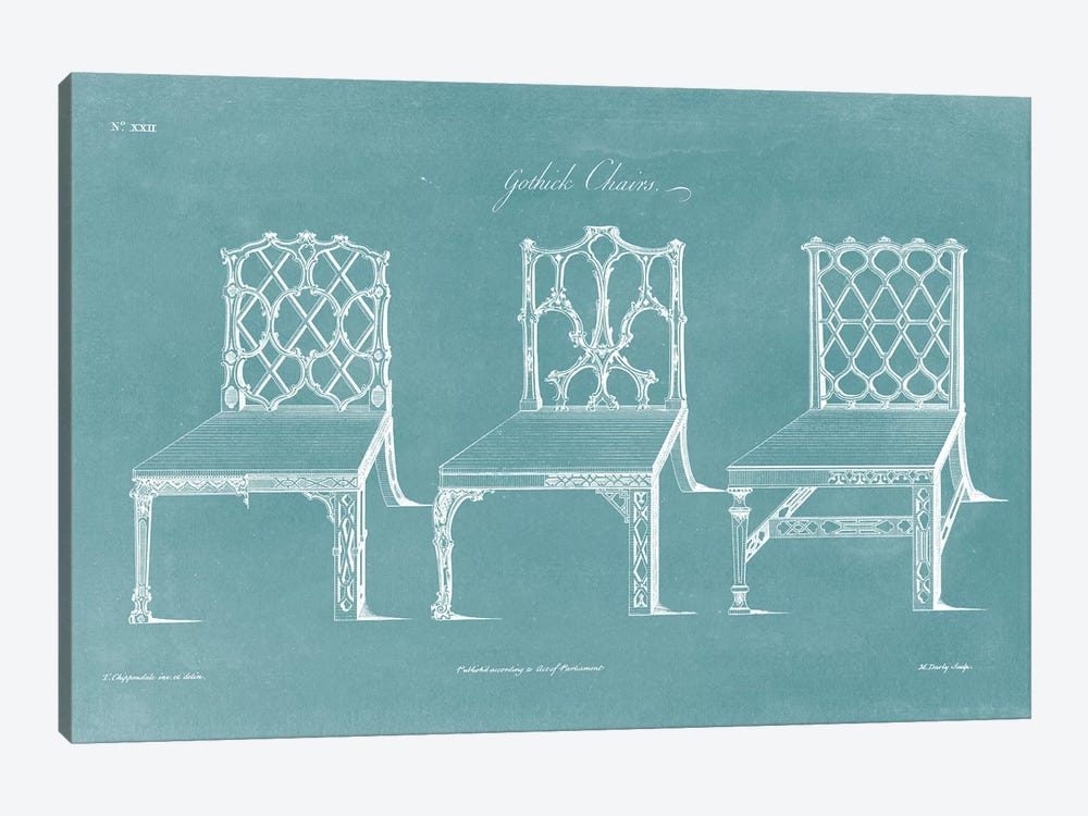 Design For A Chair II by Thomas Chippendale 1-piece Canvas Art Print