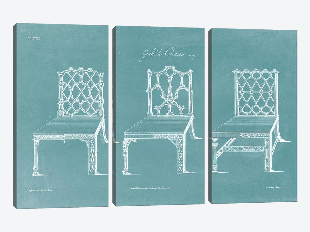 Design For A Chair II by Thomas Chippendale 3-piece Art Print