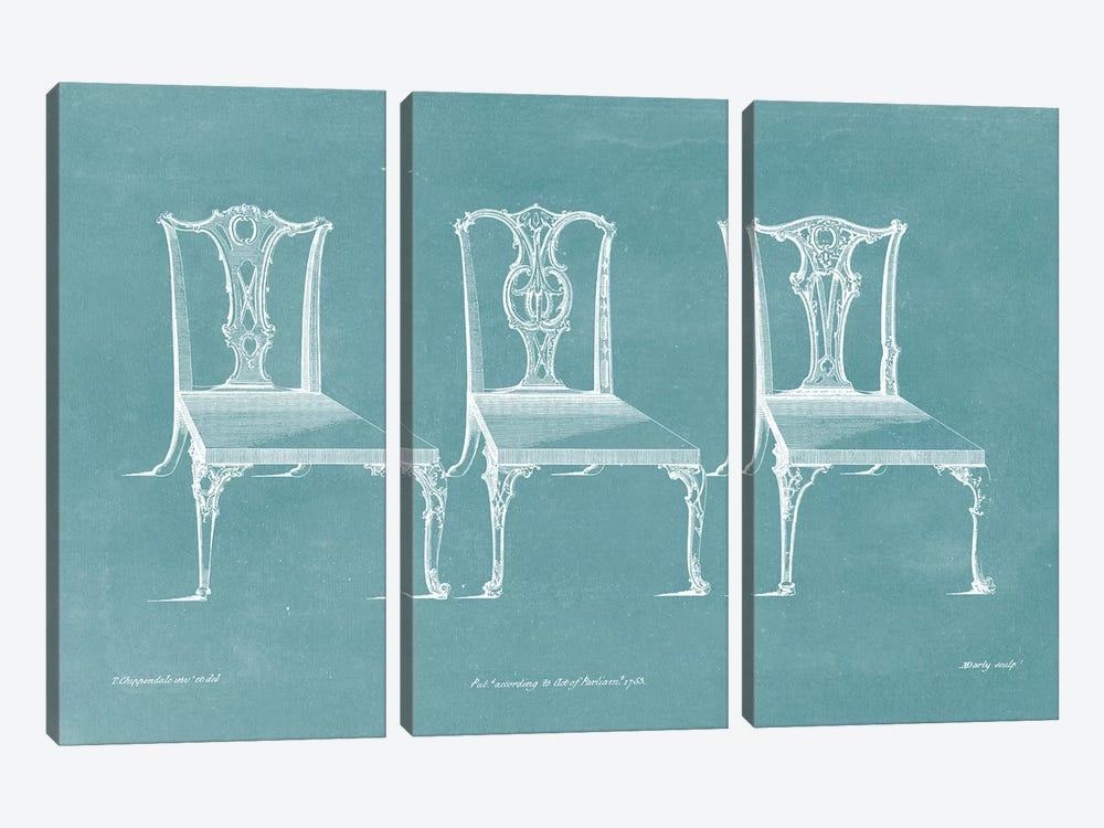 Design For A Chair III by Thomas Chippendale 3-piece Canvas Wall Art