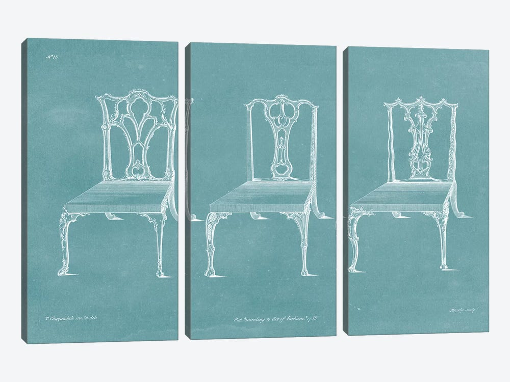 Design For A Chair IV by Thomas Chippendale 3-piece Art Print