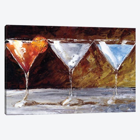 Three Martinis Canvas Print #TCK7} by Malenda Trick Canvas Art