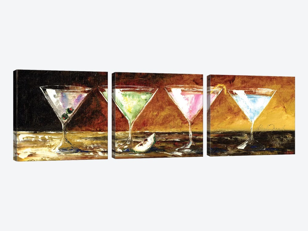 Four Martinis by Malenda Trick 3-piece Canvas Wall Art