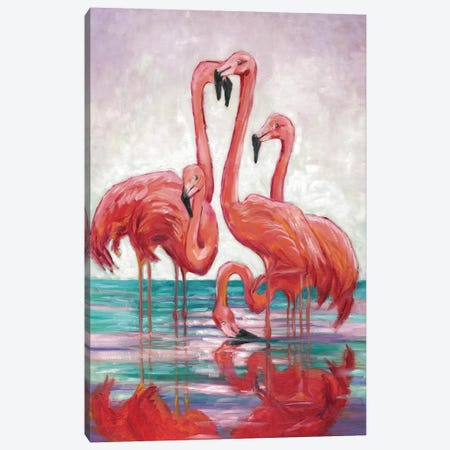 Five Flamingos Canvas Print #TCK9} by Malenda Trick Canvas Art Print
