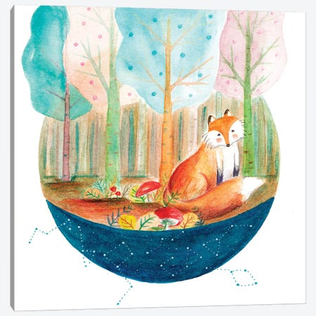 Fox And Whale I Canvas Print #TCW14} by The Cosmic Whale Canvas Art