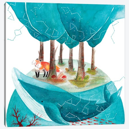 Fox And Whale II Canvas Print #TCW15} by The Cosmic Whale Canvas Artwork