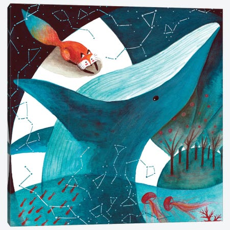 Fox And Whale III 3-Piece Canvas #TCW16} by The Cosmic Whale Canvas Art