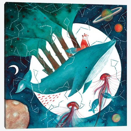 Fox And Whale IV Canvas Print #TCW17} by The Cosmic Whale Canvas Artwork