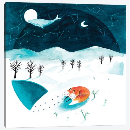 Fox And Whale Winter Canvas Print #TCW19} by The Cosmic Whale Canvas Print