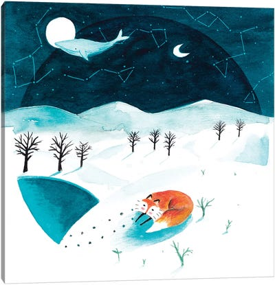 Fox And Whale Winter Canvas Art Print