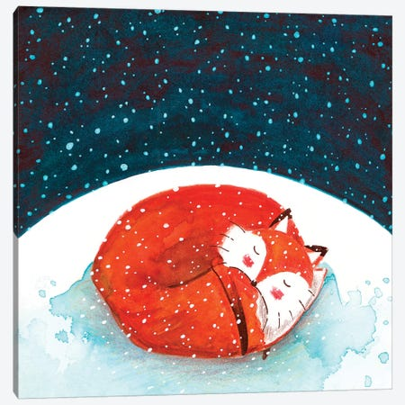 Fox WinterII Canvas Print #TCW20} by The Cosmic Whale Canvas Wall Art