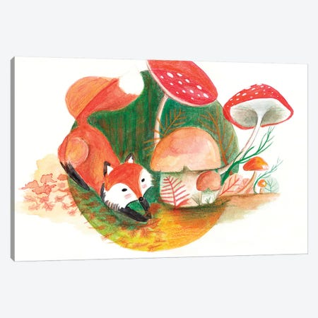 Foxy & Forest Canvas Print #TCW21} by The Cosmic Whale Canvas Art