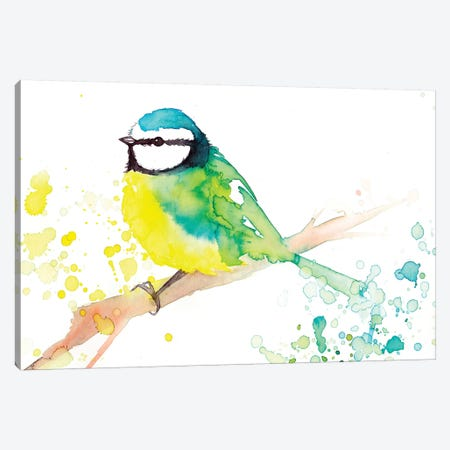 Green Bird Canvas Print #TCW22} by The Cosmic Whale Canvas Art