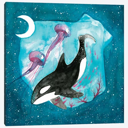 Orca 3-Piece Canvas #TCW27} by The Cosmic Whale Art Print