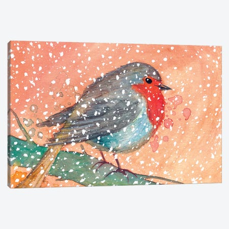 Robin In Winter Canvas Print #TCW37} by The Cosmic Whale Canvas Art