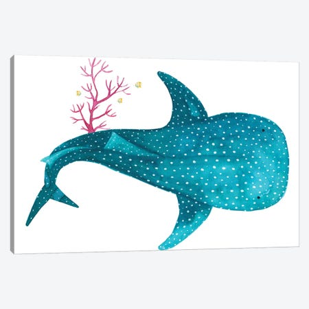 Whale Shark With Coral Canvas Print #TCW48} by The Cosmic Whale Canvas Artwork