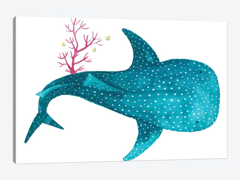 Whale Shark With Coral Canvas Art By The Cosmic Whale Icanvas