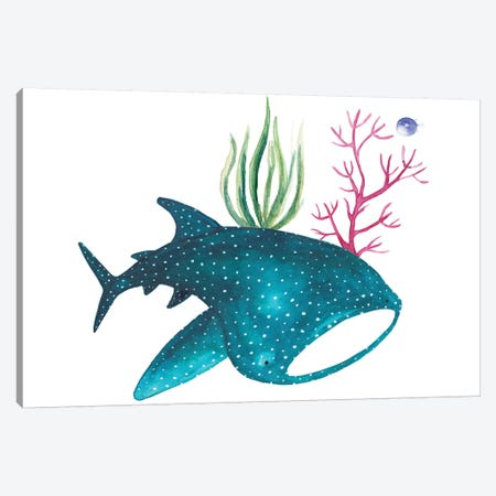 Whale Shark With Corals Canvas Print #TCW49} by The Cosmic Whale Canvas Wall Art
