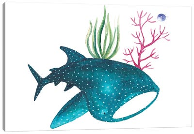 Whale Shark With Corals Canvas Art Print