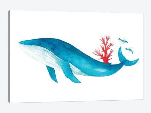 Blue Whale With Coral Canvas Art By The Cosmic Whale Icanvas
