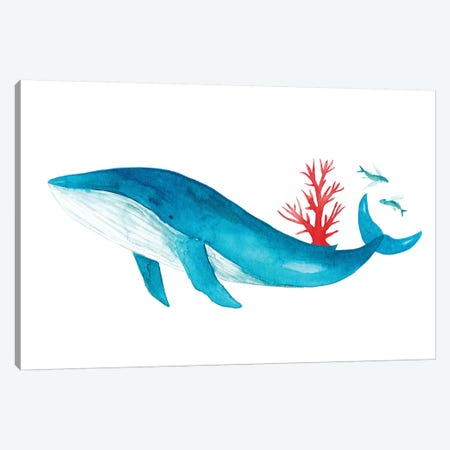 Blue Whale With Coral 3-Piece Canvas #TCW4} by The Cosmic Whale Art Print