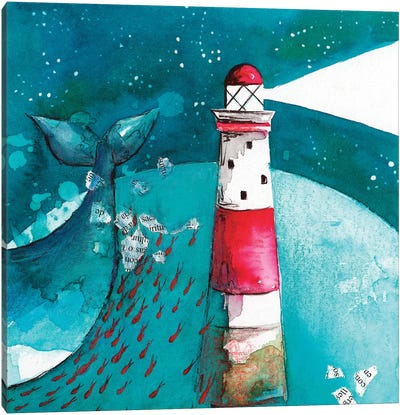Whale With Lighthouse Canvas Art Print